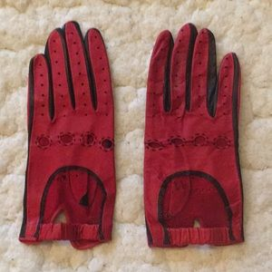 Accessories - Vintage red and black leather gloves